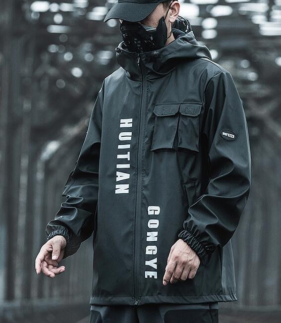 FINDSENSE X 男士 工裝 外套 男士潮流寬松多口袋夾克外套