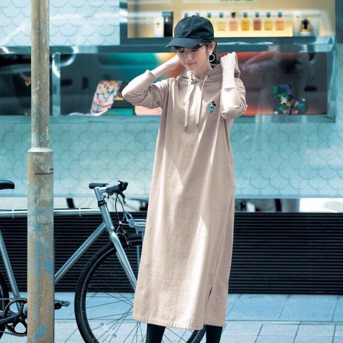 預購 日本 迪士尼 好穿方便 棉混 連帽 長洋裝 M~3L
