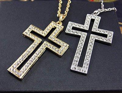 [C.M.平價精品館]現貨/時尚風格鑲鑽大十字架長項鏈