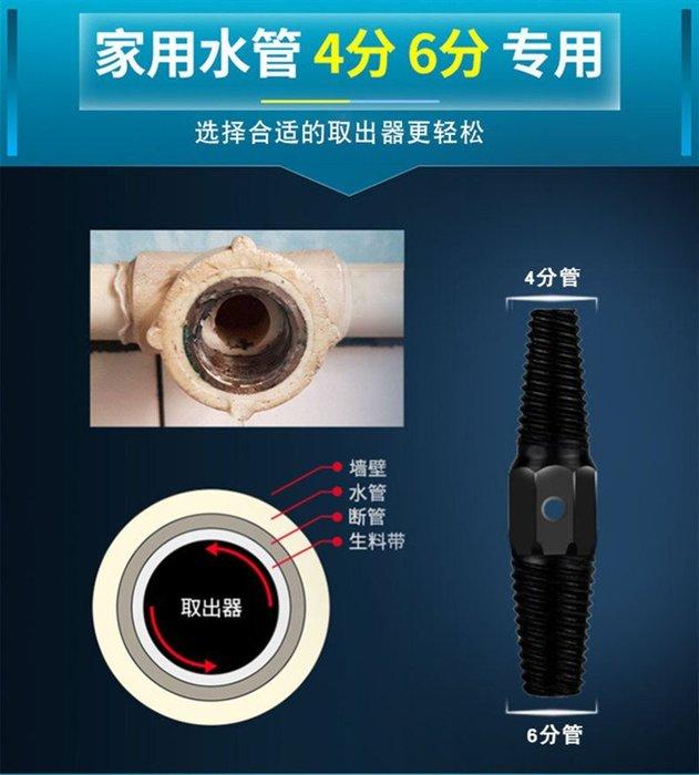 雙頭螺釘取出器水龍頭三角閥4分6分水管反牙反絲斷管螺絲取出器  取出器+助力杆