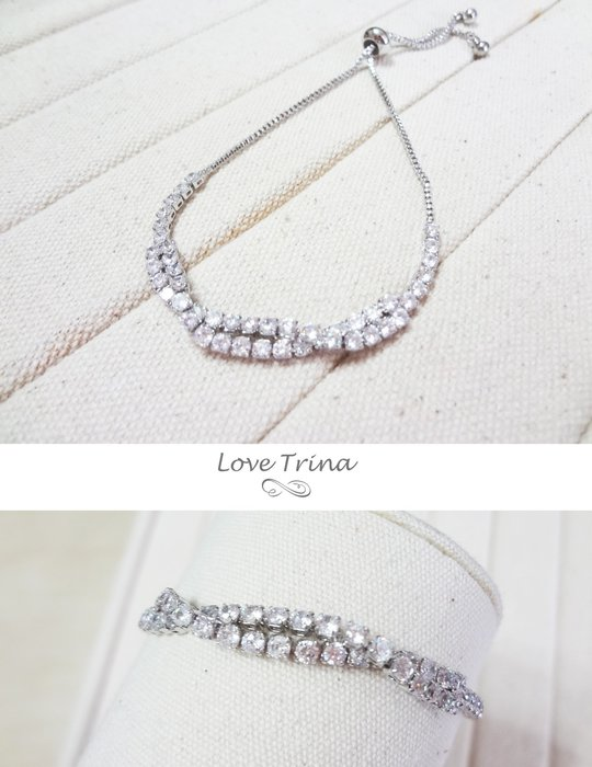 【Love Trina】韓國。6118-0641 亮鑽麻花感可調式伸縮手鍊。可調式手鍊-(銀色)