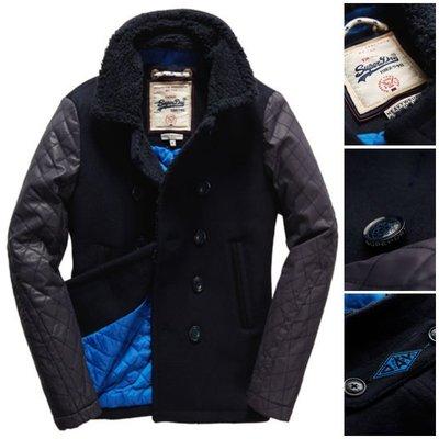 極度乾燥 Superdry Hackman Coat 雙排扣 拼接上蠟 高質感 羊毛 大衣 毛領 外套 藍黑色 軍裝