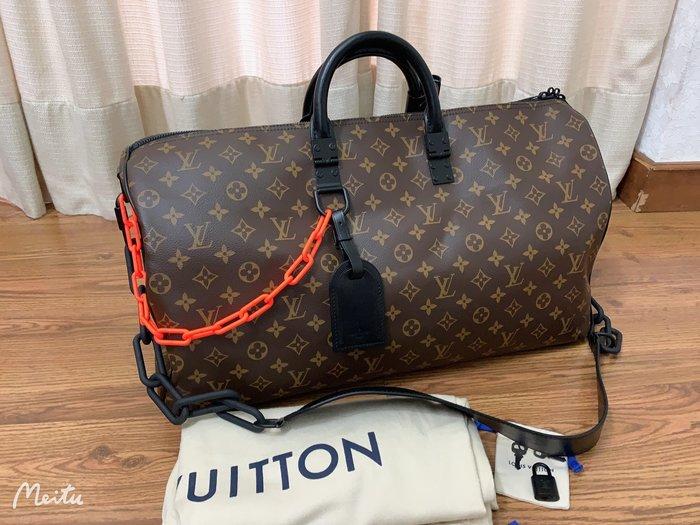 小巴黎二手名牌 LV 旅行袋 50CM 限量商品 橘色鏈條 壓克力 未使用
