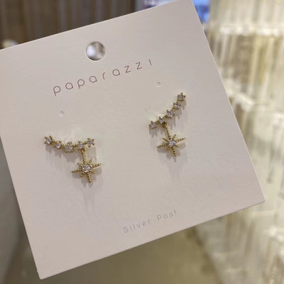 *~fuyumi boutique~*100%正韓 新款 一排鑽芒星耳環 不列入賣場優惠