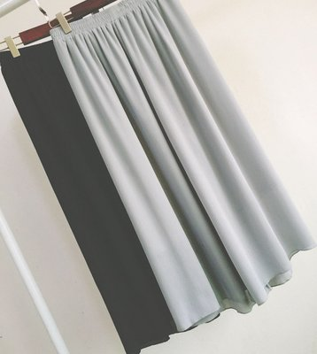 【QINA精品】春夏新款鬆緊腰褶皺九分褲雪紡闊腿褲褲