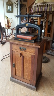 【卡卡頌 歐洲跳蚤市場 / 西洋古董 】法國 古董 極重 實木 壓書機 收納櫃 ss0221✬