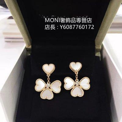 流當奢品 Van Cleef & Arpels 梵克雅寶 黃K金珍珠母貝鑽石耳環  VCARN5PQ00 真品現貨