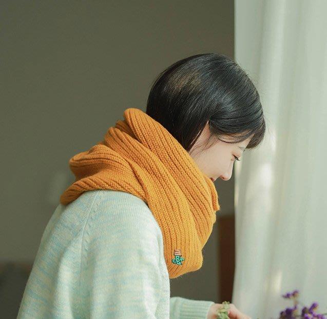 SEYES 基本款森林系刺繡仙人掌毛線長圍巾