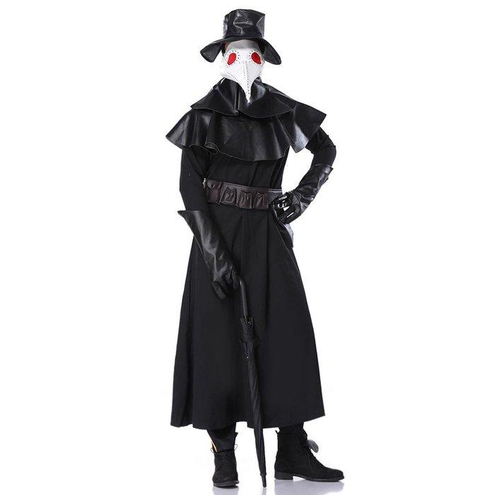 萬圣節中世紀瘟疫醫生cos服裝烏鴉鳥嘴面具權杖斗篷道具表演服裝