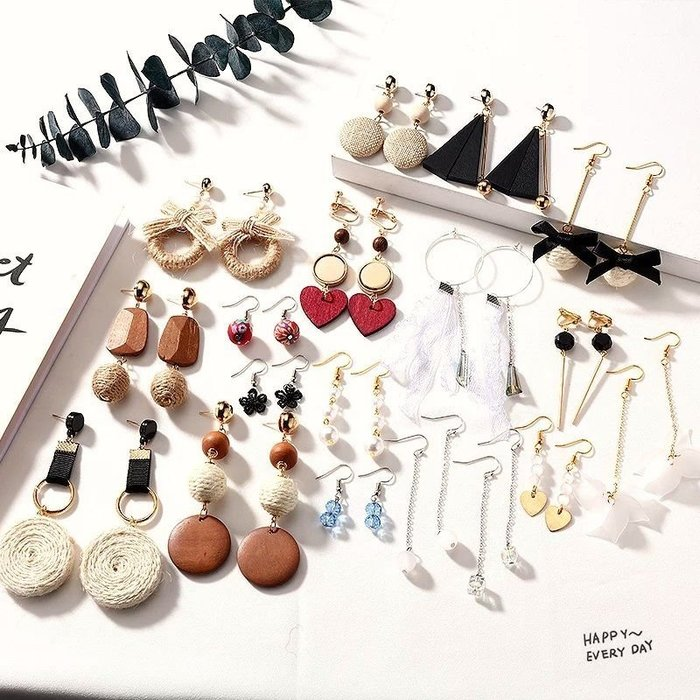 diy耳環材料包 緞帶 流蘇 自製耳釘耳飾品耳墜配件 木質棉麻款 送小工具及包裝袋  兩套材料包贈分類盒