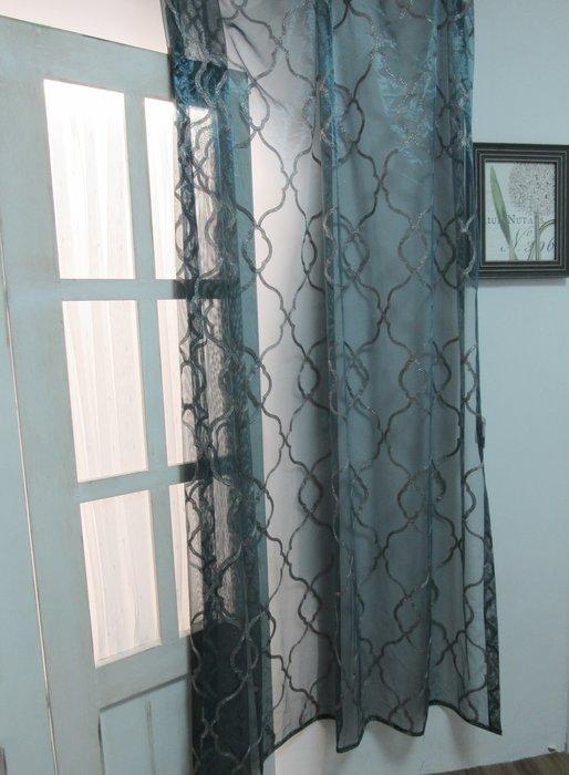 [W079]窗簾 窗紗  No.451幾何刺繡藍綠紗  特價出清  無接縫紗 時尚 神秘 奢華