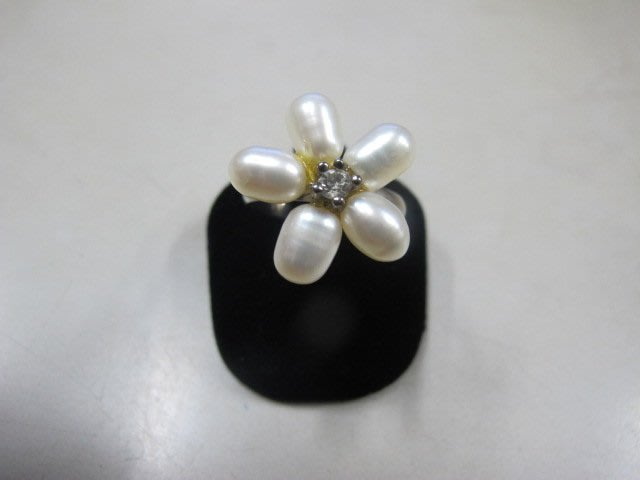 二手舖 NO.3986 天然珍珠 造型戒指 首飾飾品 全新