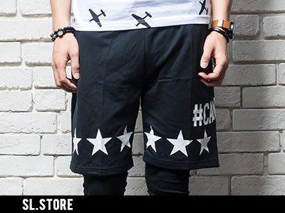 SL Store【D270】GD星星字母印花口袋圓點設計棉質潮流短褲‧M/L