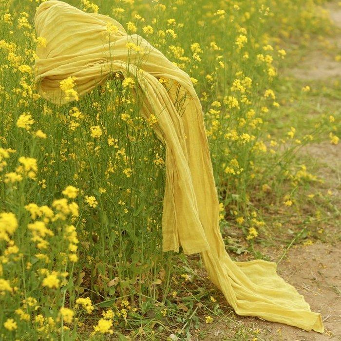 【鈷藍家】棉麻臆想 純亞麻圍巾 寬大 純色百搭圍巾披肩 四季可用  旅行必備 防曬