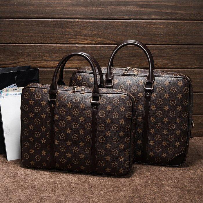 手提托特包正韓版男女通用印花公文包女包手提包休閑男士商務包14寸15.6寸電腦包8-28