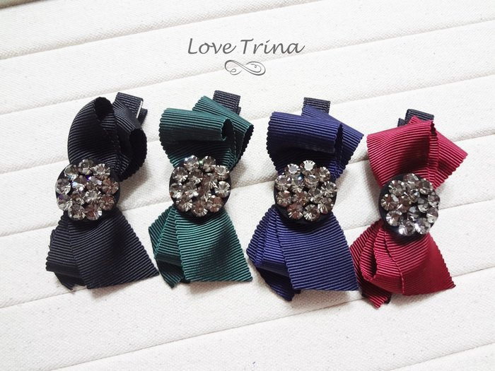 【Love Trina】韓國進口。正韓✈ 8916-0104。超亮亮鑽多層蝴蝶結8cm長壓夾。髮夾。髮飾(4色)