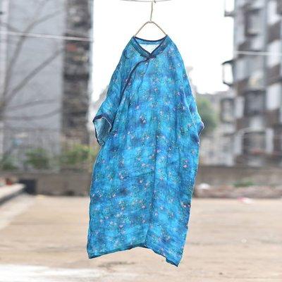 短袖連衣裙/中式原創設計立領盤釦斜襟麻...
