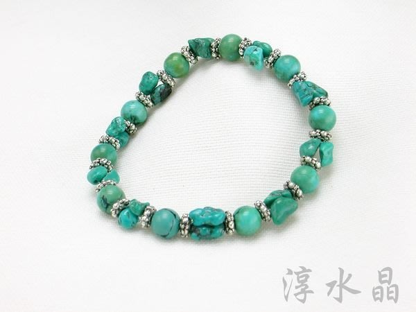 淳玉晶品坊天然綠松石手鍊~土耳其石圓珠手鏈~不規則珠~手圍16公分