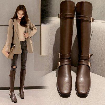 Fashion*超雞顯瘦真皮皮帶扣長靴...