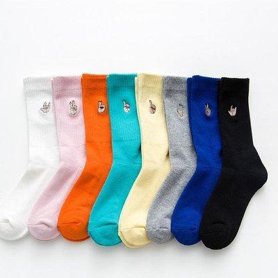 秋冬彩色中筒全棉女襪卡通刺繡長筒襪腳底加厚毛巾襪運動學院風潮