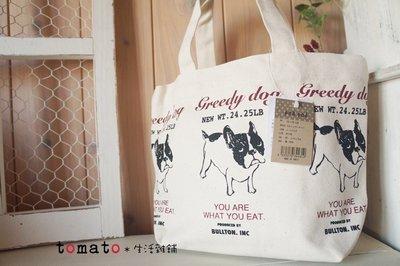 ˙TOMATO生活雜鋪˙日本進口雜貨greedy dog法國鬥牛犬牛頭梗圖樣手提包便當袋(現貨)