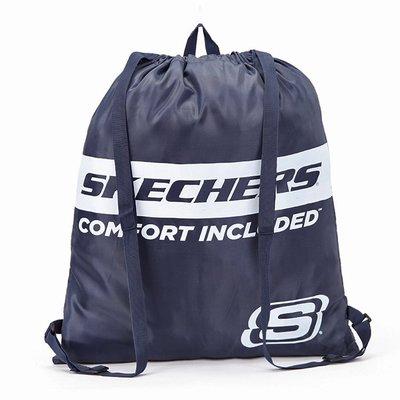 Brave1210~可99元加價購~免運費~ 美國SKECHERS 旅行收納包束口抽繩袋 超薄簡易雙肩背包  藍如圖色