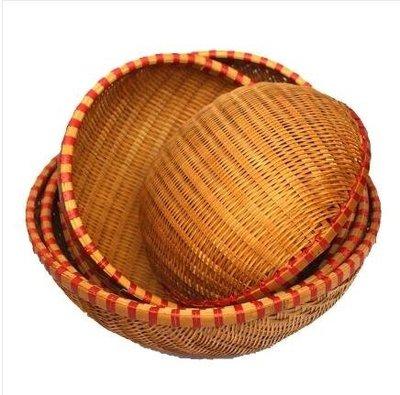 手工竹編蔬果籃洗菜籃瀝水籃竹編饅頭筐面包籃晾曬竹籃竹制收納籃igo