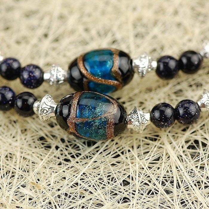 「還願佛牌」 鑫 泰國 佛牌 鍊 鏈 串珠款 項鍊 單掛 經典 藍砂石 + 琉璃