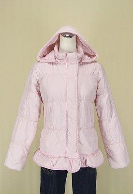 ◄貞新二手衣►bossini kids 專櫃 粉紅連帽V領長袖鋪棉外套夾克S號(79966)