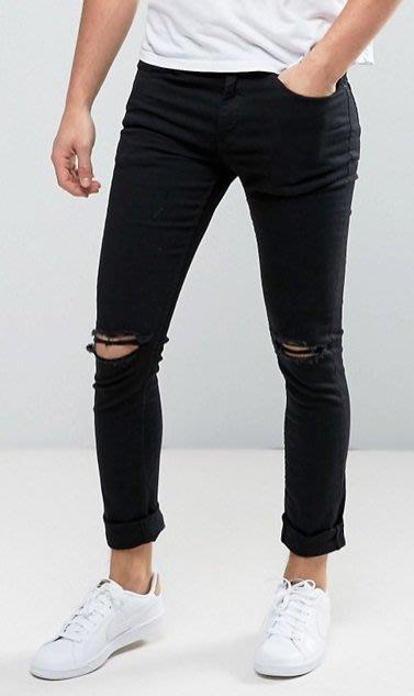 ◎美國代買◎ASOS雙膝刷破反摺褲口合身黑色雙膝破洞九分牛仔褲~歐美街風~大尺碼
