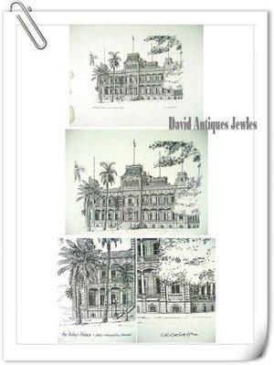 ((天堂鳥)) 鋼版畫Iolani Palace宮殿 #224、穿越甘蔗田的火車 #225、人物畫#290、西洋 #50