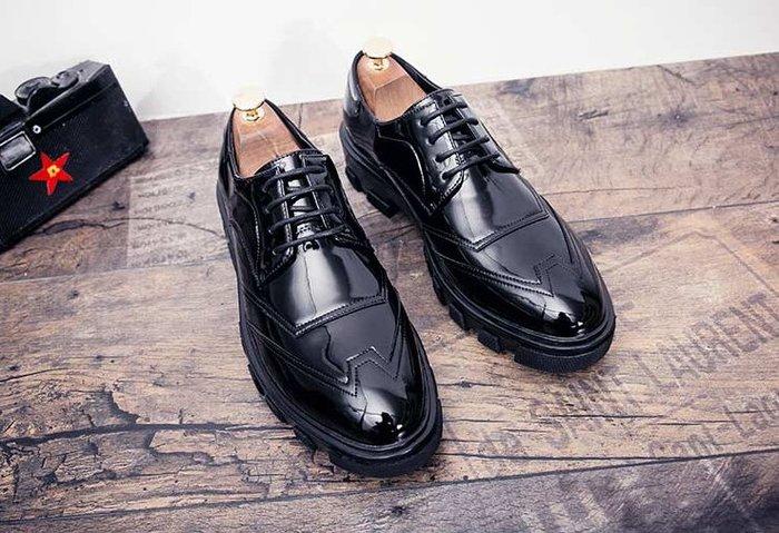 漆皮亮面尖頭皮鞋英倫男士松糕增高板鞋百搭潮流休閑鞋男鏡面潮鞋