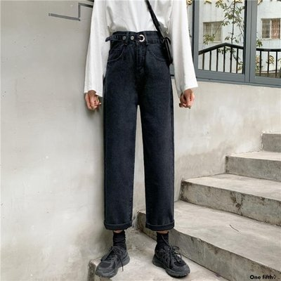 One fifth◊ .. [S-5XL]百搭復古學生高腰直筒牛仔褲女大碼寬鬆舒適老爹闊腿褲QC230