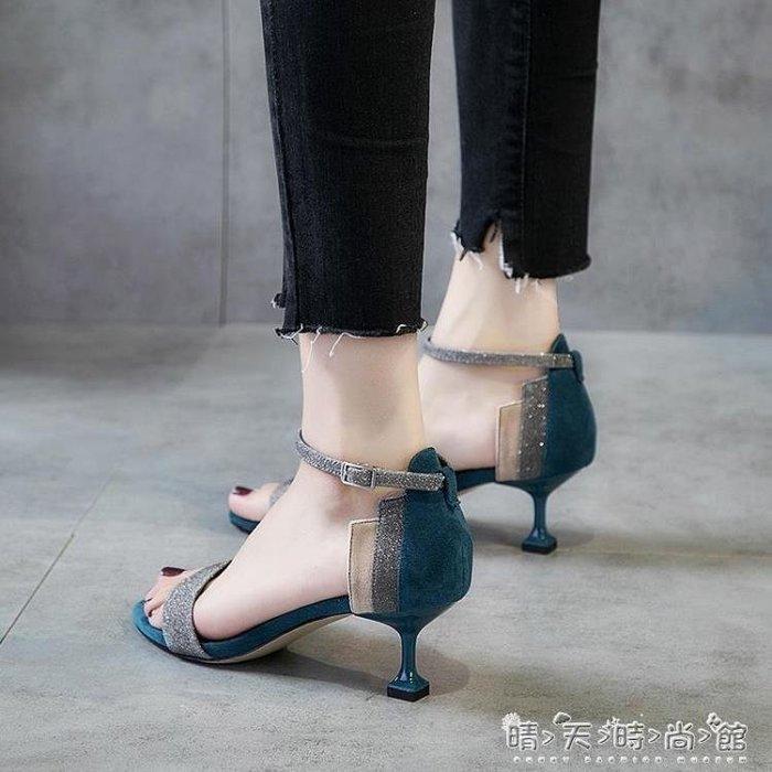 2018夏季韓版細跟新款學生女鞋休閒百搭高跟鞋女復古露趾低跟涼鞋