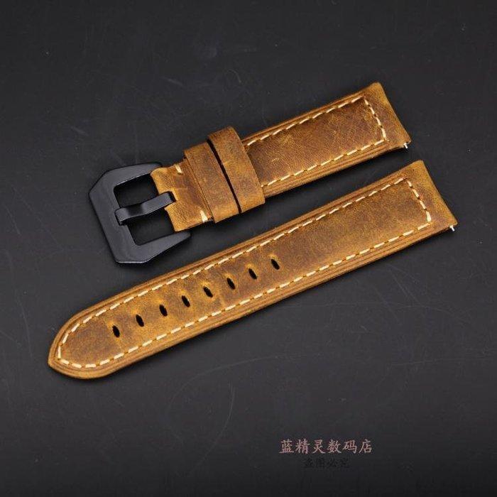 時光機 華米手表amazfit表帶 ticwatch1 三星Gear S3牛皮表帶 22mm 腕手錶配件 錶帶 =男女