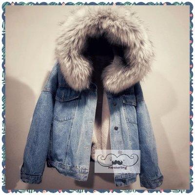 PapaDarling 17SS 優惠折扣款大毛領羔羊毛牛仔連帽寬鬆外套