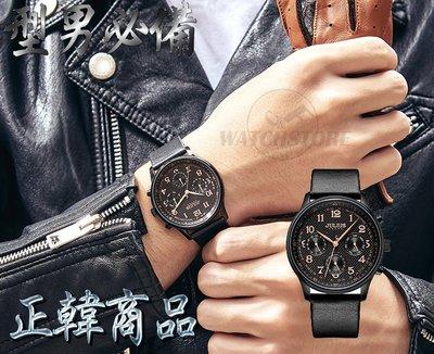 C&F 【JULIUS】韓國品牌 超有型運動風真三眼真皮腕表 手錶 男錶女錶 JAH-108 媲美MK CK