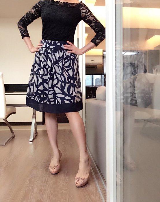 *Beauty*INDIVI藍灰色花紋雪紡絲質及膝裙 40號 PH