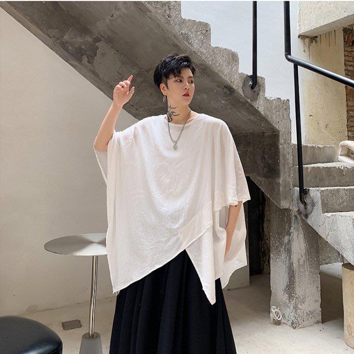 【H.BANDWAGON】個性交錯不對稱拼接設計寬鬆蝙蝠袖短袖T恤