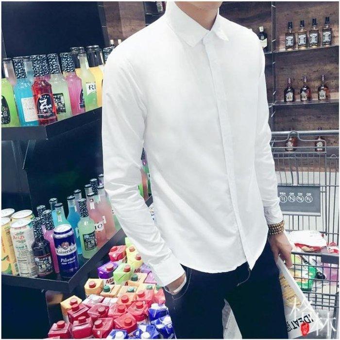 白襯衫男長袖秋季潮流修身純色襯衣男職業商務工作服GLSJ6854