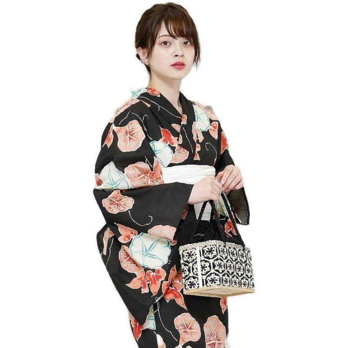 01日本棉麻和服浴衣 腰部折疊傳統款式 牽牛花