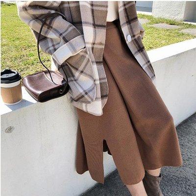 【青春小妞】高腰顯瘦開岔質感針織裙*3色
