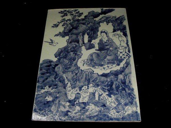 乖乖@賣場~青花童子拜觀音瓷板畫~青花觀音瓷板畫~老件.年代不詳
