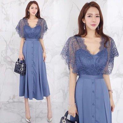 女神款氣質優雅洋裝中長款大裙襬名媛風貴婦必備蕾絲拼接a字裙性感連身裙 藍色