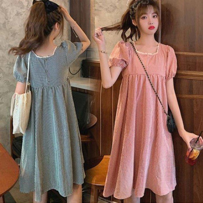 漂亮小媽咪 韓式 格紋 洋裝 【D8321】 格子 優雅 短袖 小洋裝 孕婦裝 正反兩穿