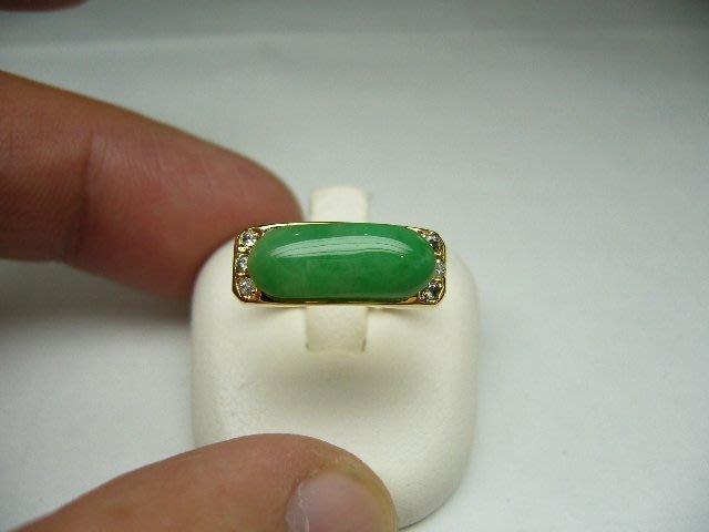 [吉宏精品交流中心]A貨 天然翡翠 馬鞍造型 天然鑽石 黃K金 戒指