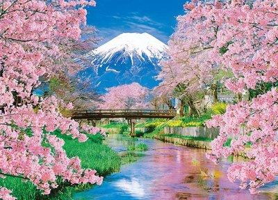 日本進口拼圖專賣店_600片 風景 富士和春天賞櫻 日本山梨 66-139