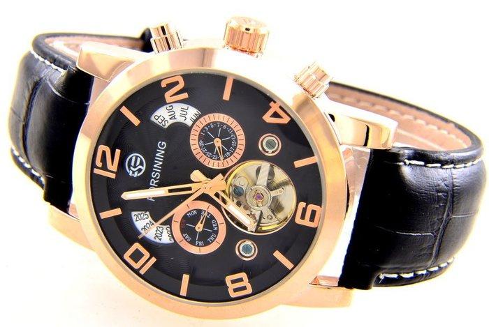 (六四三精品)超級大錶徑4.5公分.超多功能.年.月.日.星期.似陀飛功能.自動上鍊機械錶..金色殼