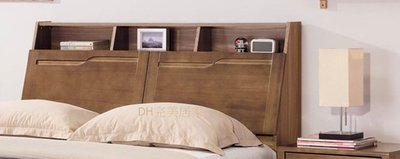 【DH】貨號BC007-1名稱《亞米》5尺淺胡桃色南檜實木床頭箱(圖一) 備有六呎可選.內付插座 主要地區免運費