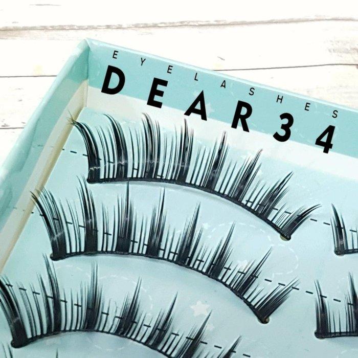 《Dear34》硬梗Y-93束束分明眼尾加長上睫毛假睫毛一盒十對價